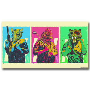 Hotline Miami Poster Print Hot Game Silk Fabric Poster 13x24 inch Wall Decor
