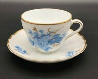 Hutschenreuther Dresden  Cup and Saucer Blue Floral Design art deco Germany