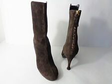 Juicy Couture Womens US 7M Brown Suede Leather High Heel Ankle Zip Boots Italy