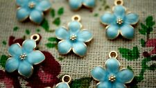 Blue flower enamel 4 gold charms jewellery supplies C1102