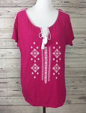 New Directions Weekend Women's Pink Boho Peasant Style Embroidered Top Medium
