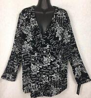 Vikki Vi Women's Travel Knit Slinky Button Jacket Sz 1X Black/White NWT NEW $130