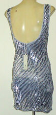 LILY WHYT SilverSequinAnimalPrintMicroMiniParty Sz8 NWT