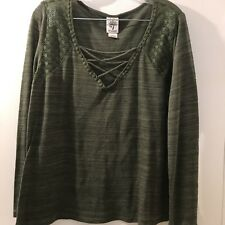 Womens 1X Top Self Esteem Blouse plus size shirt 3/4 sleeve green tunic top