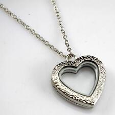 Crystal Floating Pendent Necklace Gift Women Jewelry Heart Living Memory Locket