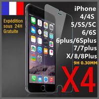Lot4 vitre protect verre trempé film protecteur écran iPhone 8/7/6/S/Plus/X/5 LF