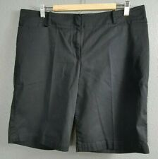 Talbots Size 16 Shorts Black Cotton Stretch Blend Flat Front Knee Length Bermuda