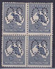 K525)Australia 1913 2.5d Indigo Kangaroo perf Large OS in mint unhinged block 4