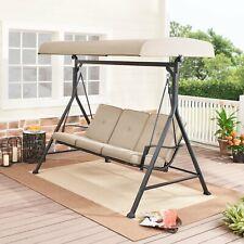 Porch Swing Forest Hills 3 Person Steel Beige Black Adjustable Olefin Canopy
