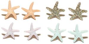 MINI STARFISH SHELL STUD EARRINGS ~ 4 COLORS ~ U PICK