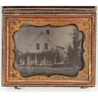 Daguerreotype Civil War era Quarter plate of Country Home People on porch