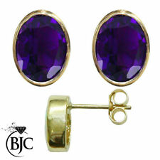 Butterfly Fastening Amethyst Yellow Gold Fine Earrings