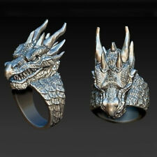 Size 10 Jewelry Party Men Gifts Punk Ring 925 Silver Filled Rings Fashion Dragon