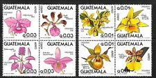 GUATEMALA Sc C655a-9a NH issue of 1978 - BLOCKS OF 4 - FLOWERS - ORCHIDS