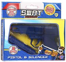 SWAT MISSION PISTOL AND SILENCER 8 Shot Metal Cap Gun Realistic Sound