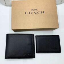 ORIGINAL COACH Men's Compact Bifold Wallet F74991 Black Calf Leather