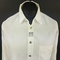 Carlo Colucci Mens Vintage Shirt XL Long Sleeve White Regular Fit Cotton Viscose