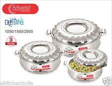 Arhanto 3 Pcs SS Double Walled Hotbox / Serving Pot (1000 ml, 1500 ml, 2500 ml)