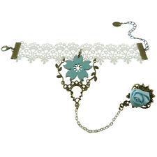 Bracelet bague femme blanc dentelle satin fleur bleu clair doré mariage mariée