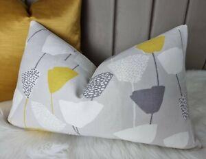 "12""x20"" John Lewis Elin Double sided Cushion Cover Citrine Grey Floral Retro"
