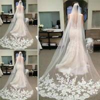 White and Ivory Wedding Prom Bridal Long Lace Veil With Comb Wedding 3M New