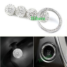Silver Rhinestone Wheel Tire Valve Stem Caps+Start Engine Ignition Button Ring