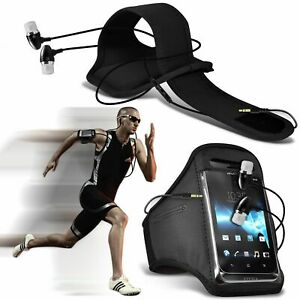 Black✔Quality Sports Armband Gym Running Phone Case Cover+In Ear Headphones