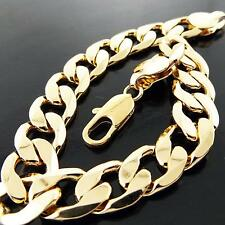 FSA723 GENUINE REAL 18K  YELLOW G/F GOLD SOLID MENS CURB CUFF BRACELET BANGLE