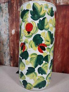 "Ceramic Lady Bug 17.5"" Tall Decorative Vase, Umbrella Stand Vessel Art"