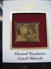 LEOPOLD STOKOWSKI CLASSICAL COMPOSERS 22kt Gold Golden Cover Stamp replica
