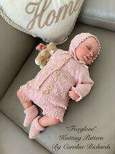 """""""Foxglove"""" Romper Set knitting pattern for Reborn doll 16 -22"""" or 0-3 Mth Baby"""