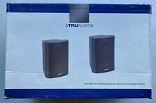 Truaudio SATPAK 2 Satellite Speakers BLACK + MOUNT BRACKETS