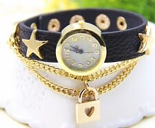 UNIQUE DESIGN LOVE LOCK PENDANT STAR STUDDDED LEATHER STRAP LADIES WATCH - BLACK