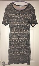 REISS BLACK LACE OVERLAY FITTED BODYCON STYLE DRESS UK 14