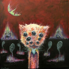 GUS FINK art ORIGINAL painting outsider lowbrow modern Kitty Abstract 9 LIVES