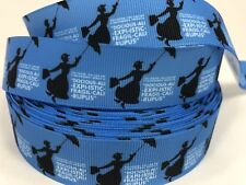 Uncut Blue Mary Poppins Printed One Sided Grosgrain Ribbon.... Lisa