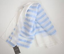 NWT Auth GUCCI Blue White Striped Silk Chiffon Lightweight PONCHO Scarf #371701