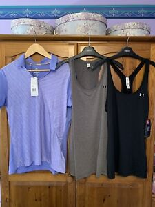 Under Armour Tank Tops X2, Adidas Golf Polo Size L 16 New With Tags