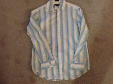 Men's DKNY LS Blue Yellow Striped Sz Medium M Button Down Shirt