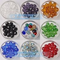 30pcs 10mm Rondelle Faceted Charms Crystal Glass Loose Spacer Beads Findings