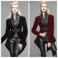 New Women Coat Jacket Velvet Gothic Steampunk Victorian Regency Cosplay Tailcoat