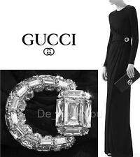 NEW GUCCI JERSEY BLACK DRESS GOWN with CRYSTAL HORSEBIT BROOCH size XS