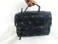 Grand sac à main pratique simili cuir noir cerises rockabilly pinup rétro