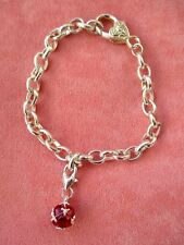 New ladies cute chunky shiny silver tone chain bracelet with drop clip on charm