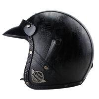 DOT Motorcycle Helmet Deluxe Leather Open Face Half Jet Scooter Cruiser Helmet