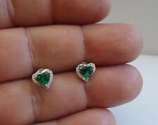 Emeralds & Accents 925 Sterling Silver Green Heart Shape Stud Earrings W/1.10 Ct
