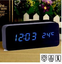 Led Clock Digital Alarm Clock Wooden Style Voice Control Time Temperature Alarm