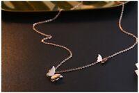Damen Gold 18K Halskette mit Anhänger Schmetterling Schmuck vergoldet 45cm Kette
