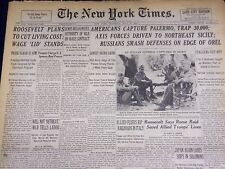 1943 JULY 24 NEW YORK TIMES - AMERICANS CAPTURE PALERMO, TRAP 30,000 - NT 1886
