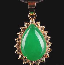 Emerald Green Jade Drop 18KGP Crystal Women Girl Party Pendant Chain Necklace